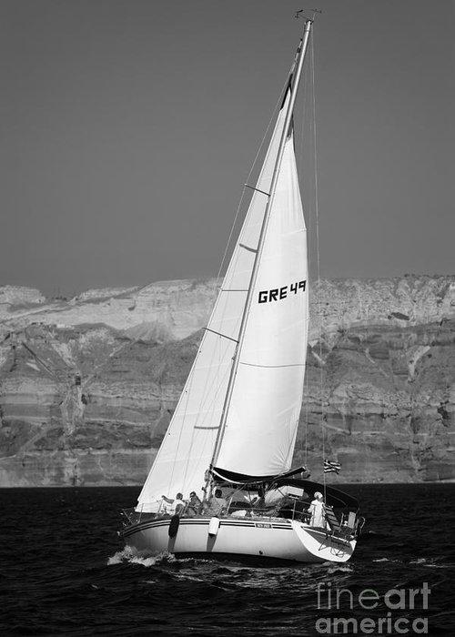 Sail Greeting Card featuring the photograph Santorini Sail by Leslie Leda