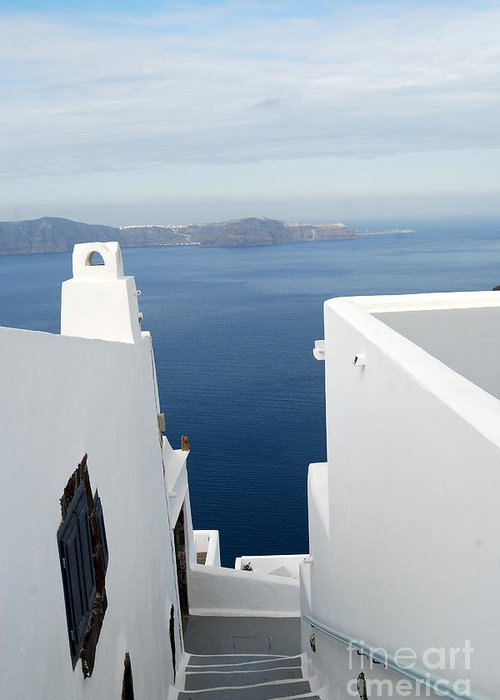 Santorini Greeting Card featuring the photograph Santorini Steps by Eva Kaufman