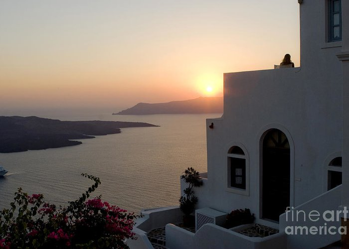 Santorini Greeting Card featuring the photograph Santorini Sunset by Leslie Leda