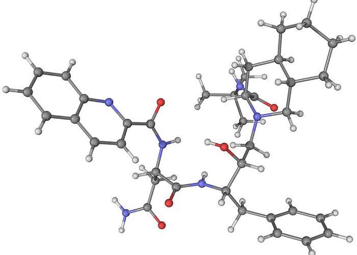 Molecular Greeting Card featuring the photograph Saquinavir Aids Drug Molecule by Laguna Design