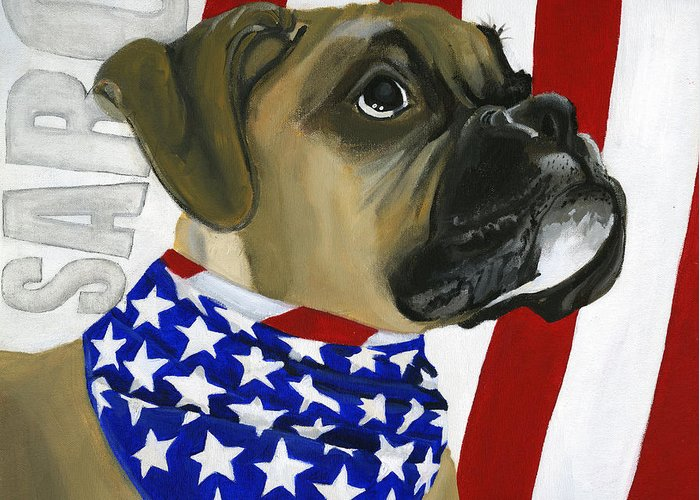 Patriotic Greeting Card featuring the painting Sarg by Debbie Brown