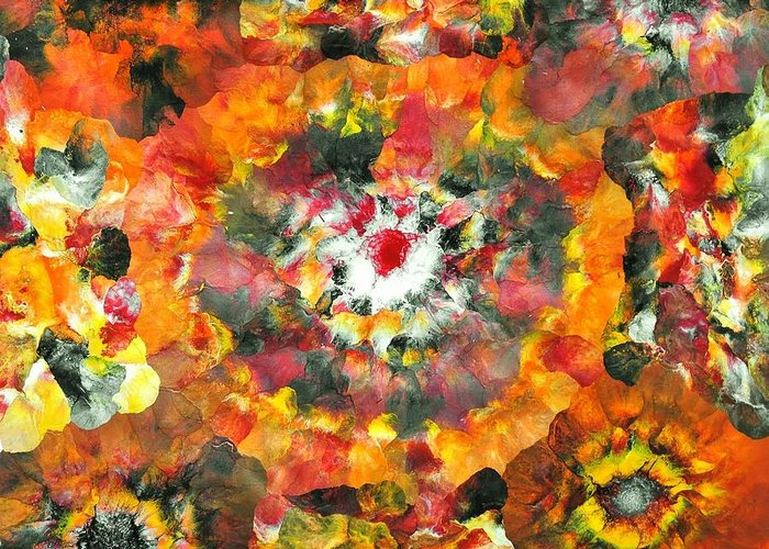 Floral Greeting Card featuring the painting Sarv Uttrav by Sumit Mehndiratta