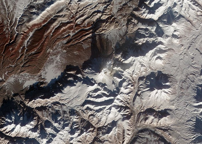 Mountainous Greeting Card featuring the photograph Satellite Image Of Russias Kizimen by Stocktrek Images