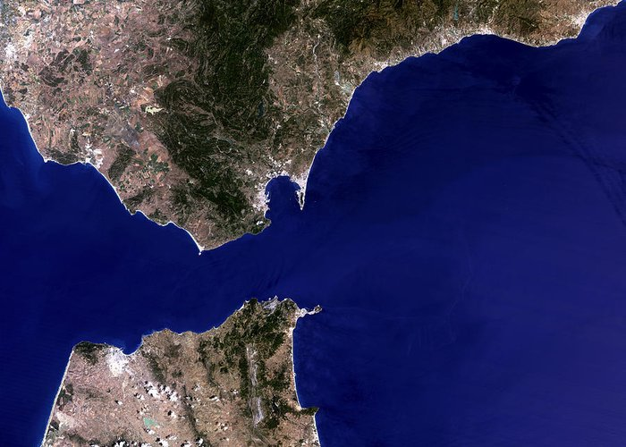 Strait Of Gibraltar Greeting Card featuring the photograph Satellite Image Of The Strait Of Gibraltar by Planetobserver
