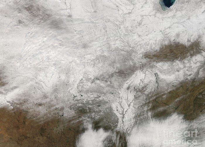 Cloud Greeting Card featuring the photograph Satellite View Of A Severe Winter Storm by Stocktrek Images