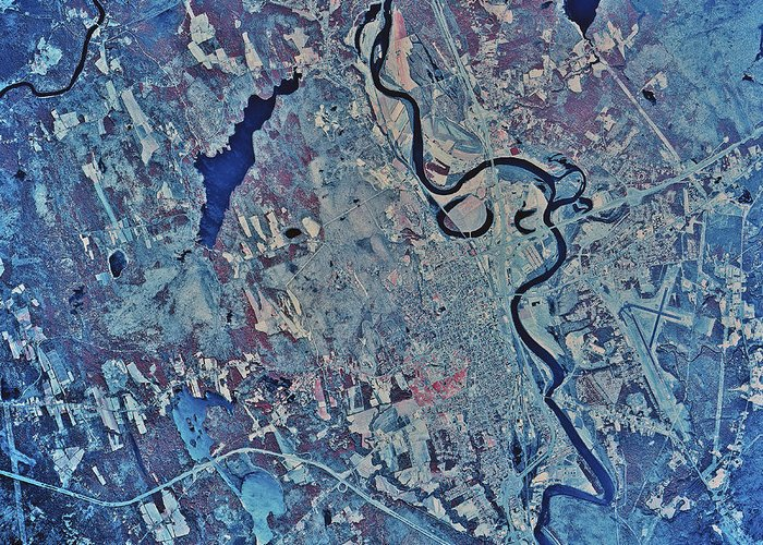 Color Image Greeting Card featuring the photograph Satellite View Of Concord, New by Stocktrek Images