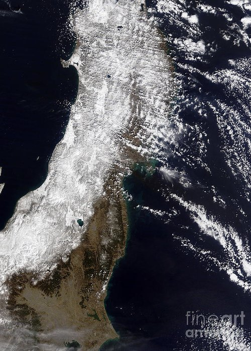 Landscape Greeting Card featuring the photograph Satellite View Of Northeast Japan by Stocktrek Images