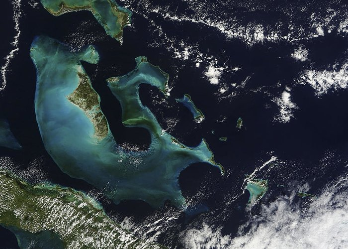 Geography Greeting Card featuring the photograph Satellite View Of The Bahama Islands by Stocktrek Images