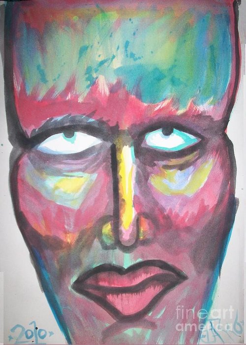 Head Greeting Card featuring the painting Saturo by El Darko