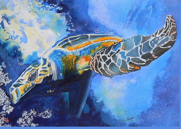 Save The Turtles Greeting Card featuring the painting Save the Turtles by Warren Thompson