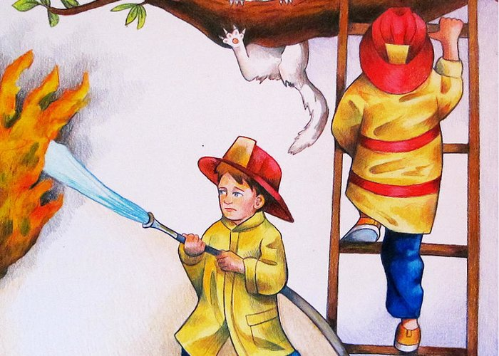 Firefighter Greeting Card featuring the drawing Saving The Day by Nicole McKeever