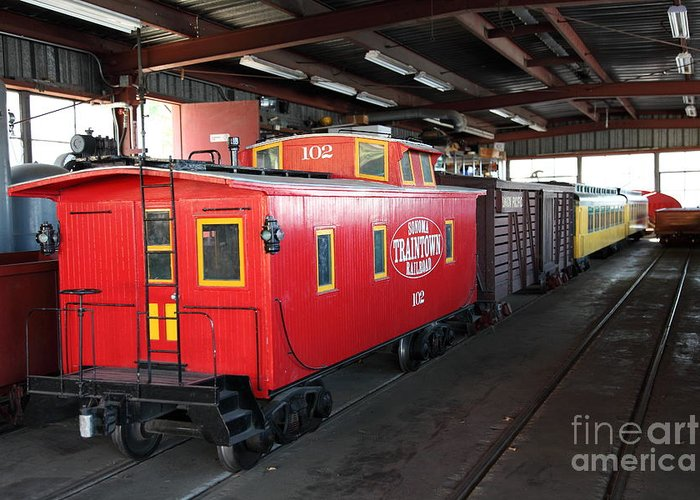 Sonoma Greeting Card featuring the photograph Scale Caboose - Traintown Sonoma California - 5d19240 by Wingsdomain Art and Photography