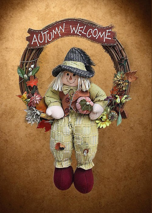 Seasonal Greeting Card featuring the photograph Scarecrow On Autumn Wreath by Linda Phelps