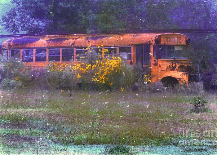 School Greeting Card featuring the photograph School Bus Out To Pasture by Judi Bagwell