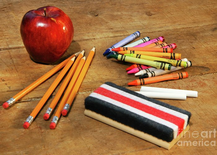 Apple Greeting Card featuring the photograph School Supplies by Sandra Cunningham