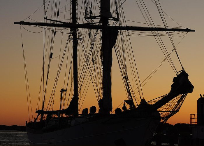 Sunset Greeting Card featuring the photograph Schooner In Woods Hole by Gerald Hiam