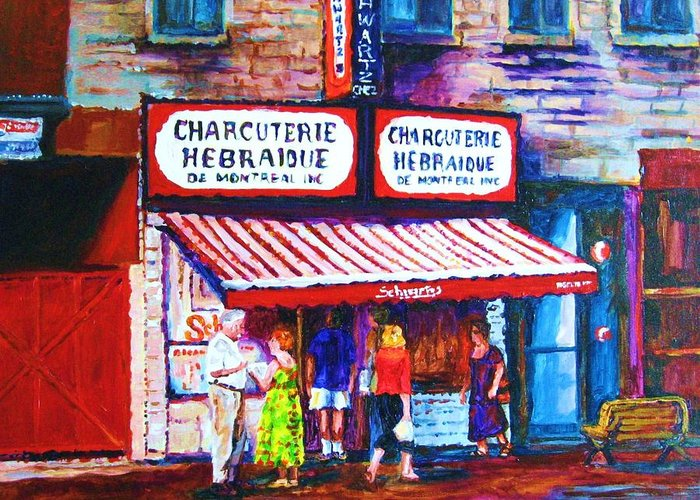 Cityscene Greeting Card featuring the painting Schwartz's Deli With Lady In Green Dress by Carole Spandau