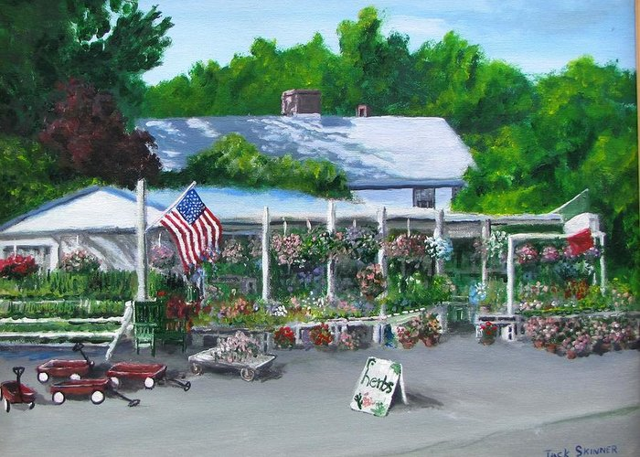 Farm Stand Greeting Card featuring the painting Scimone's Farm Stand by Jack Skinner