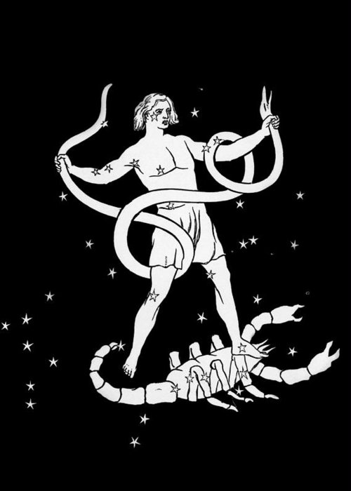 Scorpio Greeting Card featuring the photograph Scorpio And Ophiuchus Constellations by