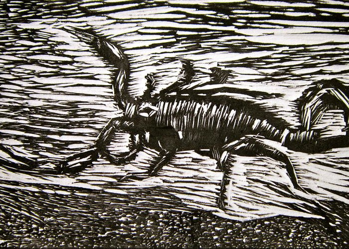 Scorpion Greeting Card featuring the painting Scorpion by Marita McVeigh