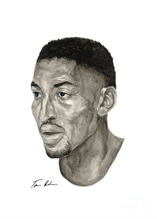 Scottie Pippen Greeting Card featuring the painting Scottie Pippen by Tamir Barkan