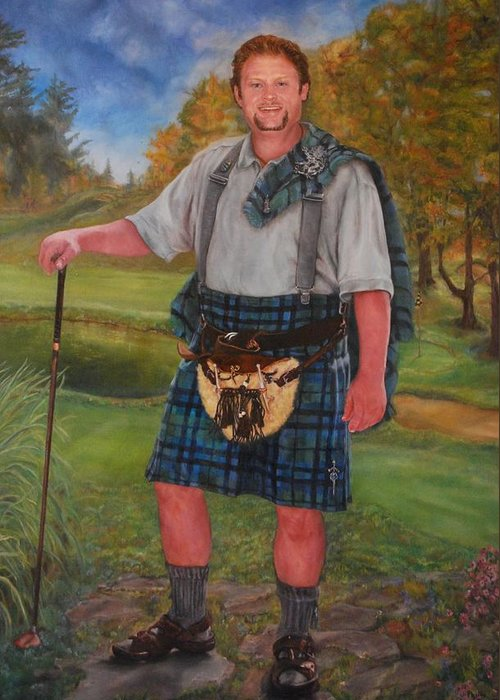 Commissions Available Greeting Card featuring the painting Scottish Golfer by Phyllis Barrett