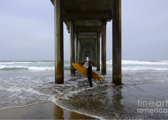 Scripps Pier Greeting Card featuring the photograph Scripps Pier Surfer 2 by Bob Christopher