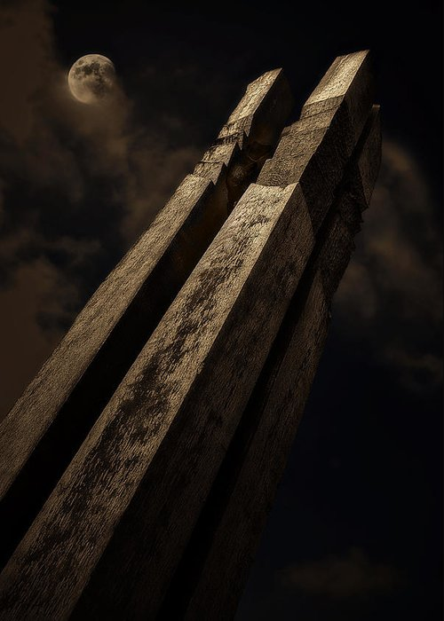 Wood Greeting Card featuring the photograph Sculpture By Moonlight by Meirion Matthias