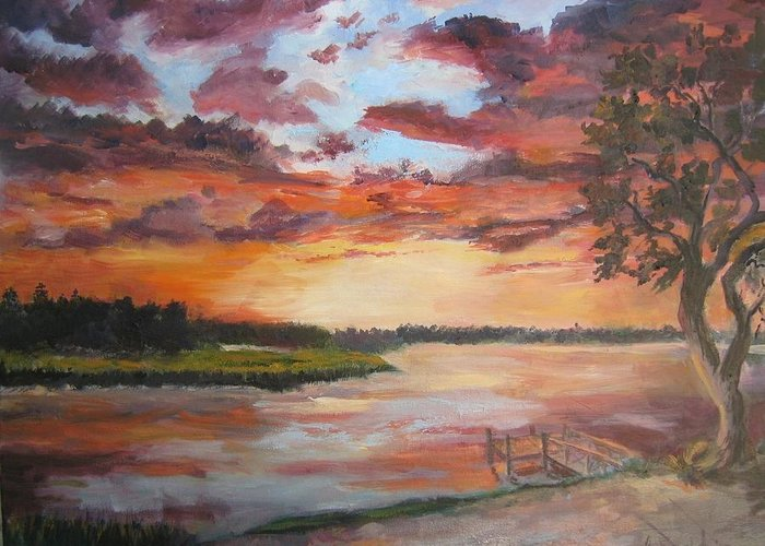 Brilliant Sunset Landscape Vista Greeting Card featuring the painting Sea Island Sunset by Albert Fendig