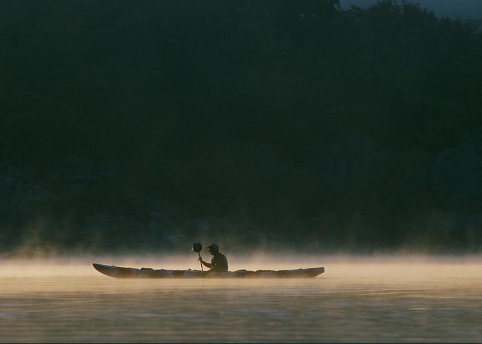 North America Greeting Card featuring the photograph Sea Kayak Silhouette On Potomac River by Skip Brown
