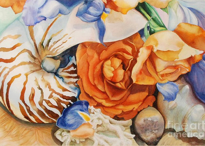 Original Watercolor Greeting Card featuring the painting Sea Petals by Catherine Moore