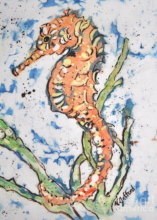Watercolor Greeting Card featuring the painting Seahorse by Norma Gafford