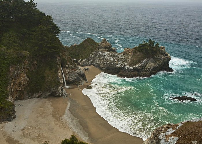 Julia Greeting Card featuring the photograph Seascape And Waterfall At Julia Pfeiffer Burns State Park by Gregory Scott