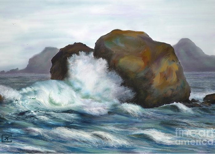 Seascape Greeting Card featuring the painting Seascape Rocks and Surf by Judy Filarecki