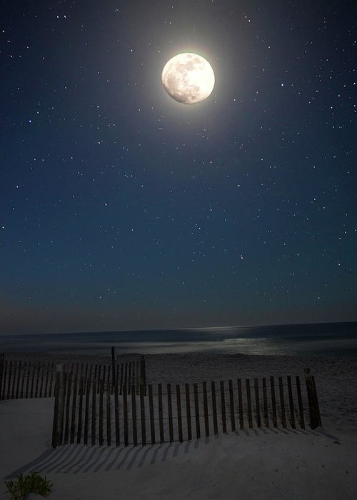 Moon Greeting Card featuring the photograph Seaside Moonset by Charles Warren
