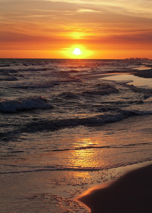 Sunset Greeting Card featuring the photograph Seaside Serenade I by Charles Warren