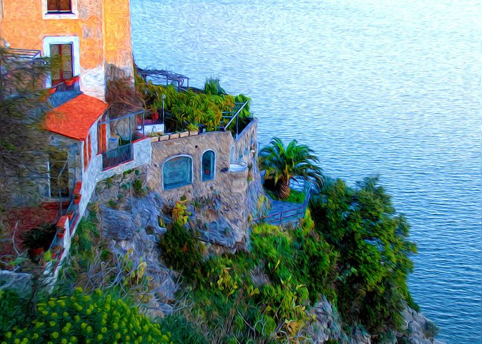 Seaside Villa Amalfi Greeting Card featuring the photograph Seaside Villa Amalfi by Bill Cannon