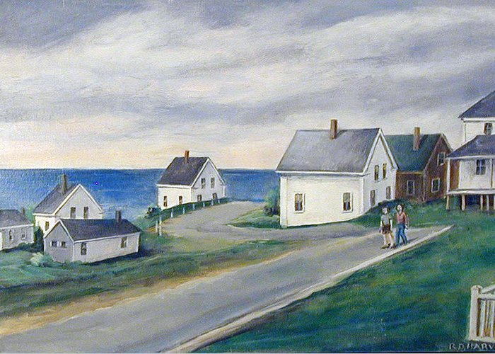 Houses Greeting Card featuring the painting Seaside Village by Robert Harvey