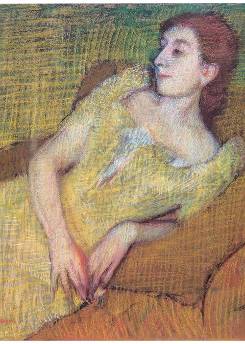 Seated Woman In A Yellow Dress Greeting Card featuring the pastel Seated Woman In A Yellow Dress by Edgar Degas