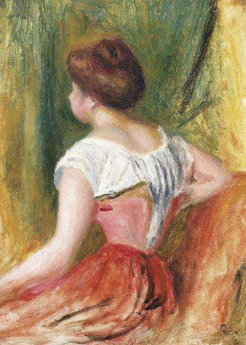 Seated Young Woman Greeting Card featuring the painting Seated Young Woman by Pierre Auguste Renoir