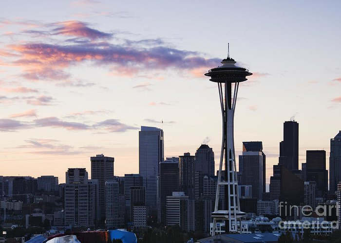Apartment Greeting Card featuring the photograph Seattle Skyline At Dusk by Jeremy Woodhouse