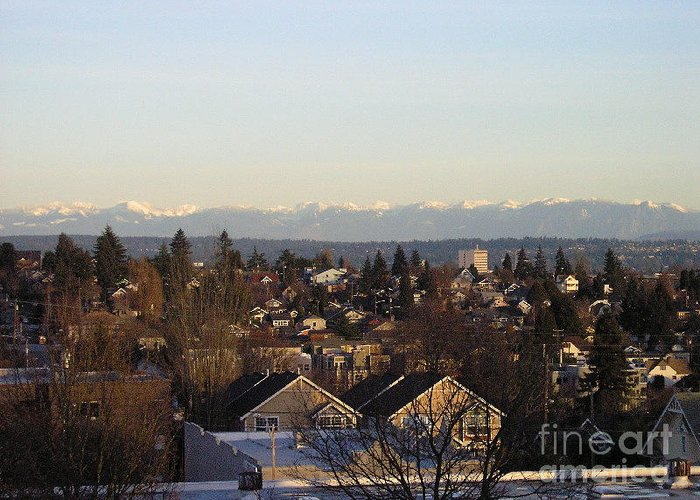 Urban Landscape Greeting Card featuring the photograph Seattle Suburb In Winter by Silvie Kendall