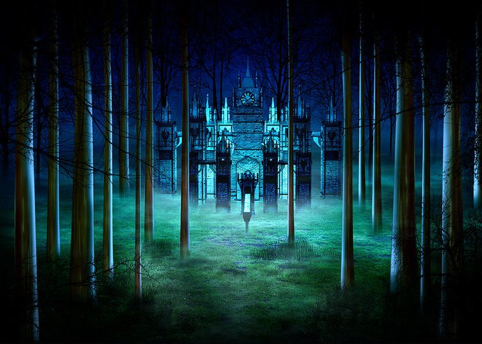 Art Greeting Card featuring the digital art Secret Castle by Svetlana Sewell