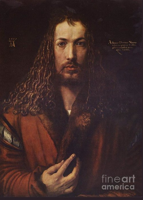 Pd Greeting Card featuring the painting Self Portrait Durer by Pg Reproductions