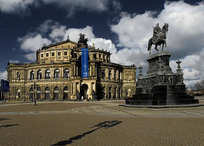 Semperoper Greeting Card featuring the photograph Semper Opera House Dresden - A Beautiful Sight by Christine Till