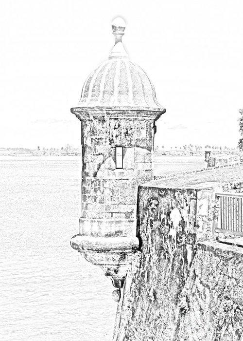 Travelpixpro Puerto Rico Greeting Card featuring the digital art Sentry Tower Castillo San Felipe Del Morro Fortress San Juan Puerto Rico Line Art Black And White by Shawn O'Brien