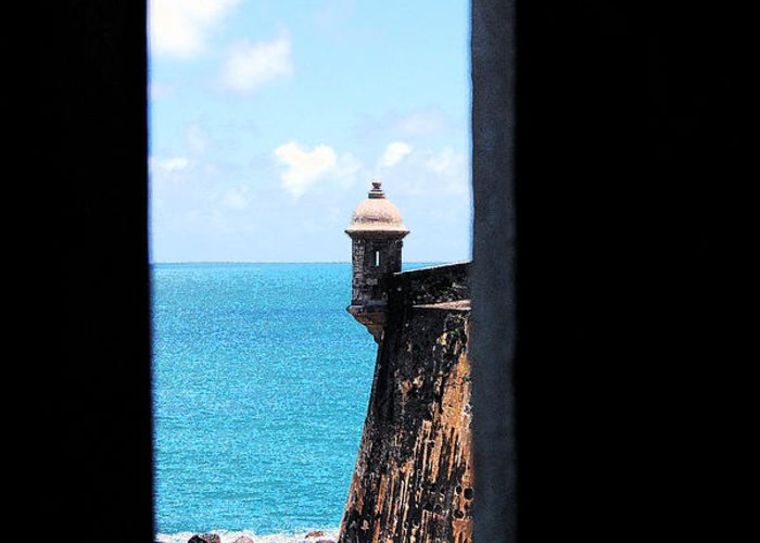 El Morro Greeting Card featuring the digital art Sentry Tower View Castillo San Felipe Del Morro San Juan Puerto Rico Ink Outlines by Shawn O'Brien