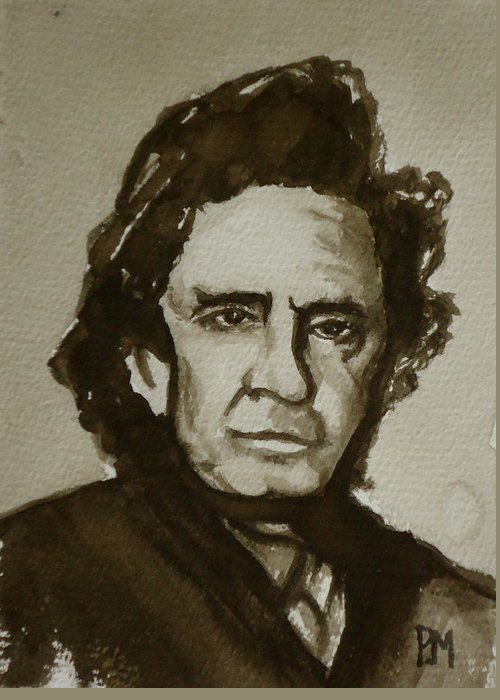 Johnny Cash Greeting Card featuring the painting Sepia Johnny II by Pete Maier