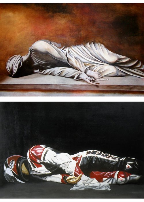 Self Portrait Motorcycle Arai Helmet Leather Suit Figurative Realism Diptych Sculpture Statue Renaissance Dark Emotive Expressive Saint St. Cecilia Greeting Card featuring the painting September Sixth Diptych by Ian Hemingway