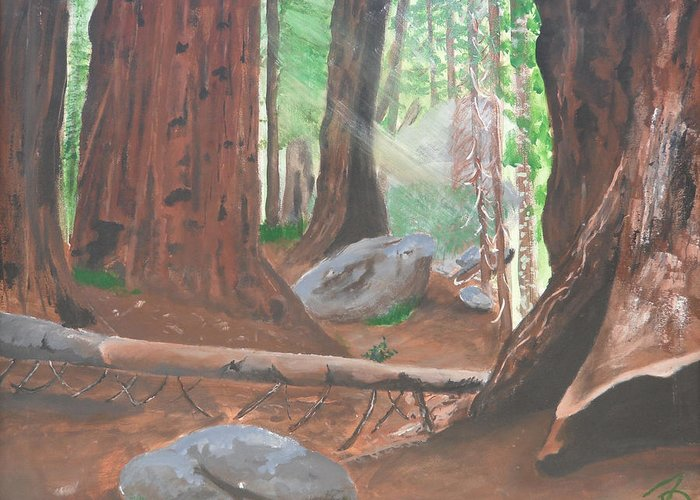 Sequoia Greeting Card featuring the painting Sequoia by Travis Day